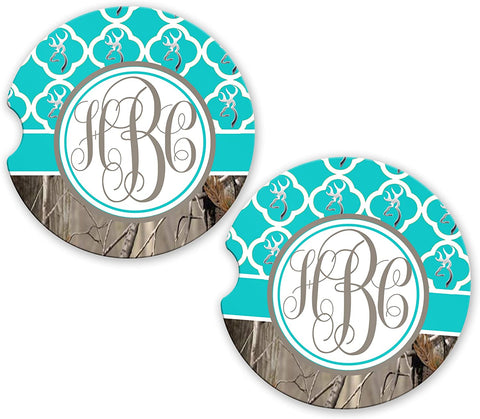 BrownInnovativeMedia Aqua Monogram Quatrefoil Buck Deer Head Camo Cup Holder Matching Coaster Set