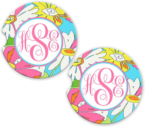 BrownInnovativeMedia Sky Blue Pink Daises Floral Personalized Monogram Sandstone Car Cup Matching Coaster Set
