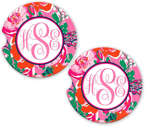 BrownInnovativeMedia Pink Red Flowers Floral Personalized Monogram Sandstone Car Cup Holder Matching Coaster Set