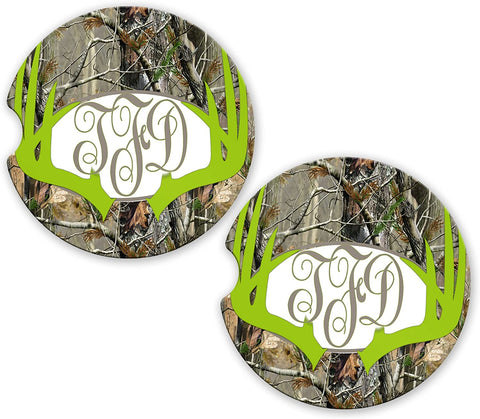 Green Deer Antlers Camo Personalized Monogram Sandstone Car Cup Holder Matching Coaster Set