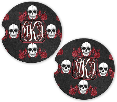 BrownInnovativeMedia Black Skulls Red Flames Personalized Monogram Sandstone Car Cup Holder Matching Coaster Set