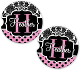 BrownInnovativeMedia Pink Damask Polka Dots Personalized Monogram Sandstone Car Cup Holder Matching Coaster Set