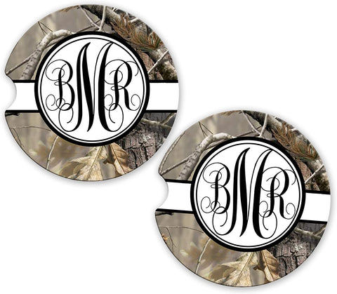 BrownInnovativeMedia Black Ribbon Camo Personalized Monogram Sandstone Car Cup Holder Matching Coaster Set