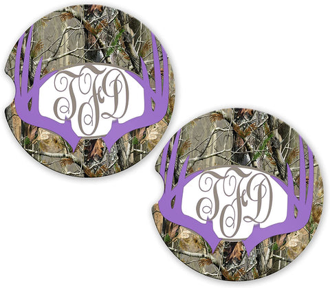 Purple Lavender Deer Antlers Camo Personalized Monogram Sandstone Car Cup Holder Matching Coaster Set