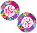BrownInnovativeMedia Purple Pink Blue Paisleys Personalized Monogram Sandstone Car Cup Holder Matching Coaster Set
