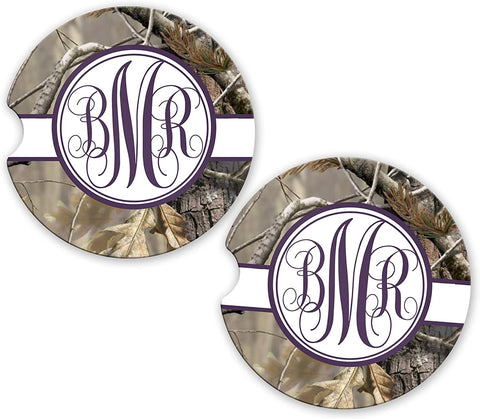 BrownInnovativeMedia Dark Purple Ribbon Camo Personalized Monogram Sandstone Car Cup Holder Matching Coaster Set
