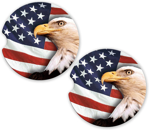 BrownInnovativeMedia Eagle USA Flag American Pride Sandstone Car Cup Holder Matching Coaster Set