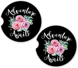 Adventure Awaits Custom Sandstone Car Cup Holder Matching Coaster Set