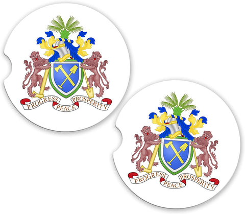 Gambia World Flag Coat Of Arms Sandstone Car Cup Holder Matching Coaster Set