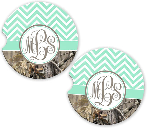 BrownInnovativeMedia Mint Chevron Camo Personalized Monogram Sandstone Car Cup Holder Matching Coaster Set