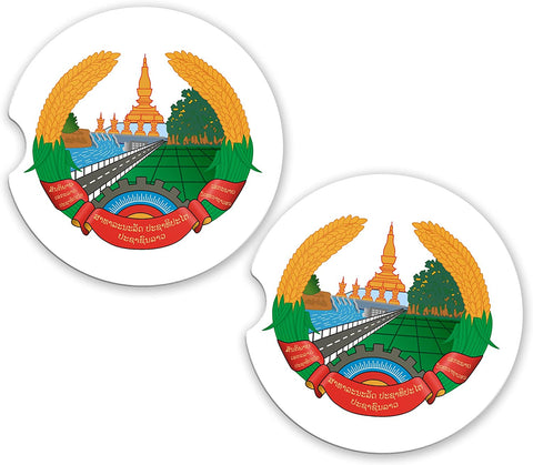 Laos World Flag Coat Of Arms Sandstone Car Cup Holder Matching Coaster Set