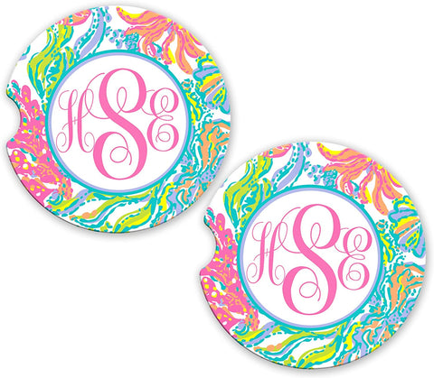 BrownInnovativeMedia Aqua Hot Pink Sea Weed Ocean Personalized Monogram Sandstone Car Cup Holder Matching Coaster Set