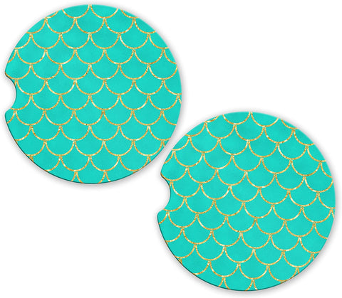 BrownInnovativeMedia Mermaid Teal Gold Scales Tail Sandstone Car Cup Holder Matching Coaster Set