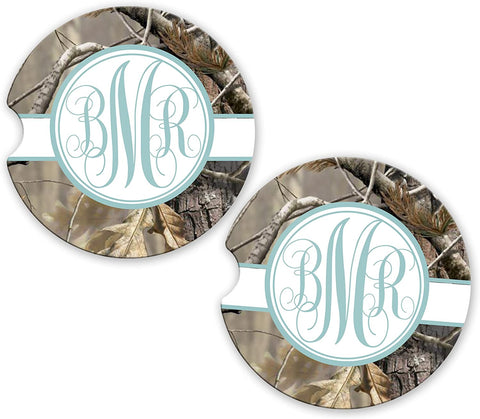 BrownInnovativeMedia Blue Ribbon Camo Personalized Monogram Sandstone Car Cup Holder Matching Coaster Set