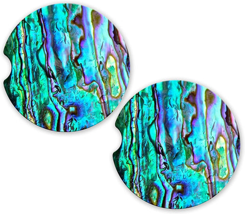 BrownInnovativeMedia Abalone Sea Shell Look Sandstone Car Cup Holder Matching Coaster Set