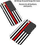Thin Red Line Firefighters USA Flag iPhone Case Cover 5/5S/SE/6/6S 6/6S 7 8 Plus X XS XR XS MAX 3D Wrap Around Case