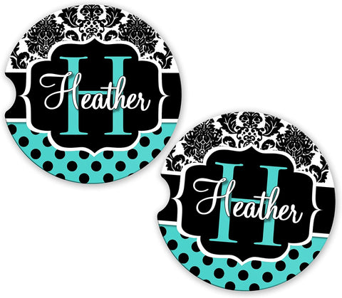 BrownInnovativeMedia Aqua Damask Polka Dots Personalized Monogram Sandstone Car Cup Holder Matching Coaster Set
