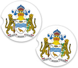 BrownInnovativeMedia Guyana World Flag Coat of Arms Sandstone Car Cup Holder Matching Coaster Set