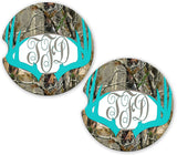 BrownInnovativeMedia Aqua Deer Antlers Camo Personalized Monogram Sandstone Car Cup Holder Matching Coaster Set