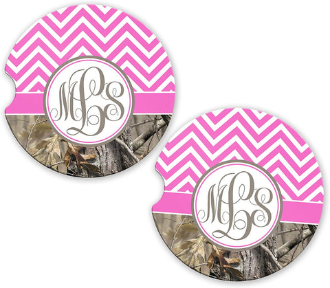 BrownInnovativeMedia Hot Pink Chevron Camo Personalized Monogram Sandstone Car Cup Holder Matching Coaster Set