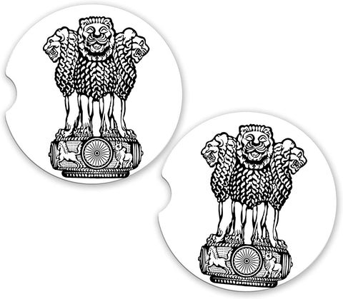 India World Flag Coat Of Arms Sandstone Car Cup Holder Matching Coaster Set