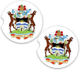 Antigua World Flag Coat Of Arms Sandstone Cup Holder Matching Coaster Set