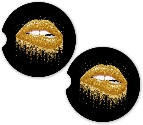 BrownInnovativeMedia Gold Glitter Lips Kiss Sandstone Car Cup Holder Matching Coaster Set