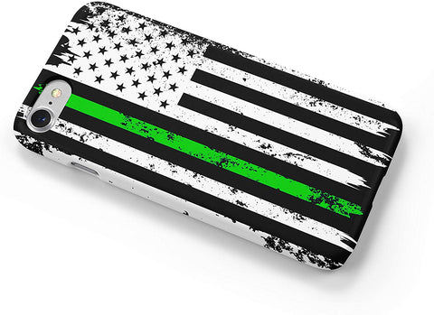 Thin Green Line Distressed Military iPhone Case Cover 5/5S/SE/6/6S 6/6S 7 8 Plus X XS XR XS MAX Wrap Around Case
