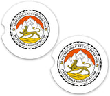 South Ossetia World Flag Coat Arms Sandstone Car Cup Holder Matching Coaster Set