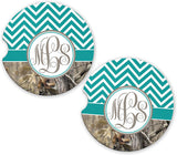 BrownInnovativeMedia Turquoise Chevron Camo Personalized Monogram Sandstone Car Cup Holder Matching Coaster Set