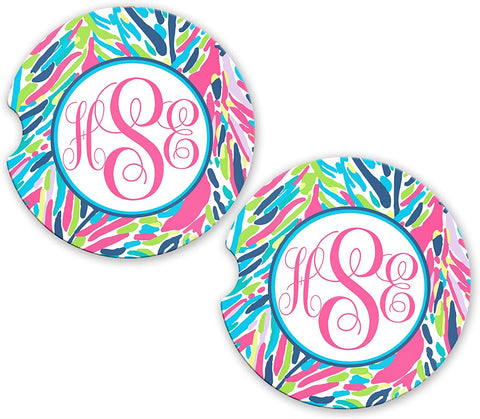 BrownInnovativeMedia Aqua Hot Pink Palm Floral Personalized Monogram Sandstone Car Cup Holder Matching Coaster Set