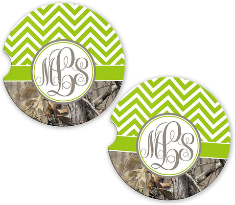 BrownInnovativeMedia Green Chevron Camo Personalized Monogram Sandstone Car Cup Holder Matching Coaster Set