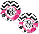 BrownInnovativeMedia Black Chevron Pink Floral Personalized Monogram Sandstone Car Cup Holder Matching Coaster Set