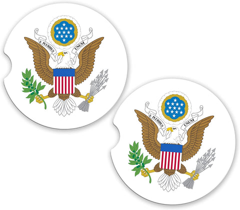 USA United States World Flag Coat Arms Sandstone Car Cup Holder Matching Coaster Set