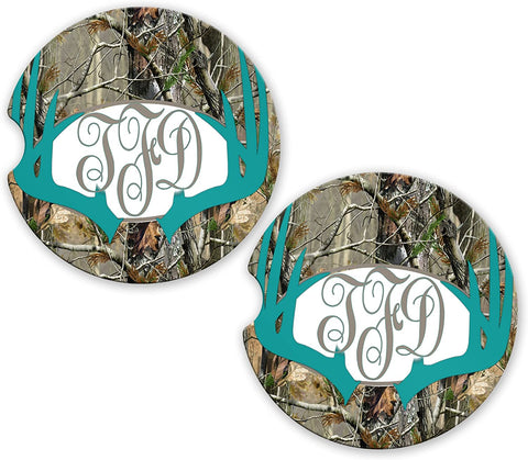 BrownInnovativeMedia Turquoise Deer Antlers Camo Personalized Monogram Sandstone Car Cup Holder Matching Coaster Set