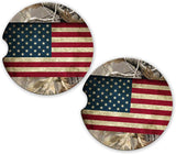 BrownInnovativeMedia Camo USA Flag Distressed Camo Personalized Monogram Sandstone Car Cup Holder Matching Coaster Set
