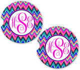 BrownInnovativeMedia Hot Pink Blue Chevrons Personalized Monogram Sandstone Car Cup Holder Matching Coaster Set