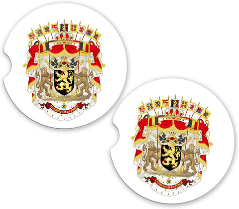 Belgium World Flag Coat Of Arms Sandstone Cup Holder Matching Coaster Set