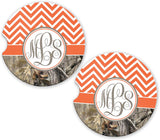 BrownInnovativeMedia Orange Chevron Camo Personalized Monogram Sandstone Car Cup Holder Matching Coaster Set