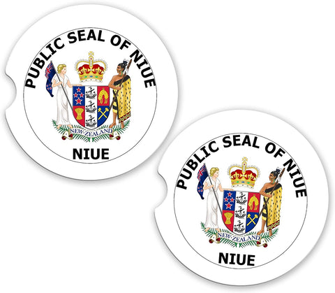 Niue World Flag Coat Of Arms Sandstone Car Cup Holder Matching Coaster Set