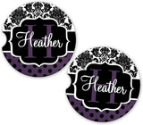 BrownInnovativeMedia Dark Purple Damask Polka Dots Personalized Monogram Sandstone Car Cup Holder Matching Coaster Set