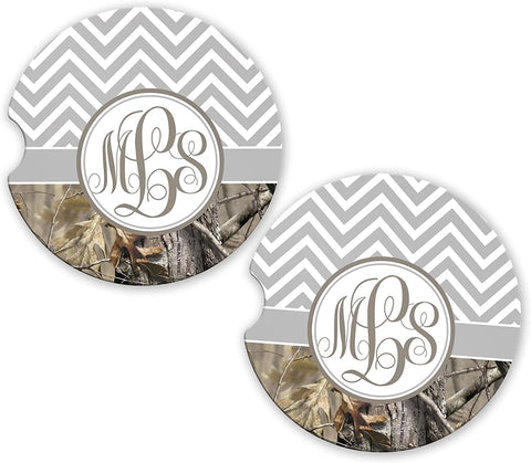 BrownInnovativeMedia Gray Chevron Camo Personalized Monogram Sandstone Car Cup Holder Matching Coaster Set