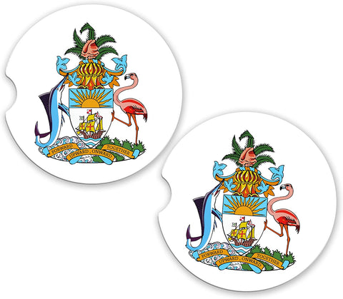 Bahamas World Flag Coat Of Arms Sandstone Cup Holder Matching Coaster Set