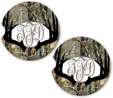 BrownInnovativeMedia Black Deer Antlers Camo Personalized Monogram Sandstone Car Cup Holder Matching Coaster Set