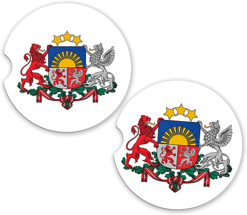 Latvia World Flag Coat Of Arms Sandstone Car Cup Holder Matching Coaster Set