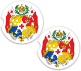 Tonga World Flag Coat Arms Sandstone Car Cup Holder Matching Coaster Set