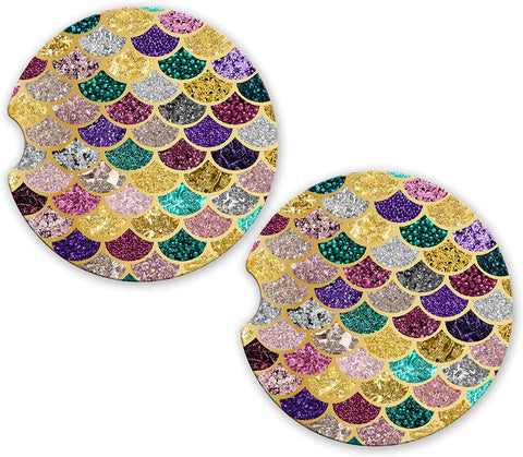 BrownInnovativeMedia Pink Silver Purple Gold Mermaid Scales Glitter Sandstone Car Cup Holder Matching Coaster Set