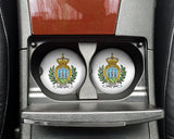 San Marino World Flag Coat of Arms Sandstone Car Cup Holder Matching Coaster Set