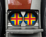 Aaland Flag Custom Car Coasters Cup Holder Matching Coaster Set