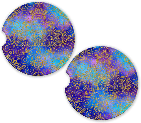 BrownInnovativeMedia Galaxy Mandala Gold Glitter Sandstone Car Cup Holder Matching Coaster Set